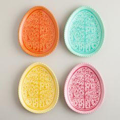 Easter Egg Plates, Set of 4 | World Market- inspired by Scherenschnitte german paper cuttings!