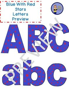 Clip Art Letters with Punctuation- Blue With Red Stars Upper And Lowercase Letters, Lowercase A, Word Walls, Punctuation, Bulletin Boards, Art Images, Lesson Plans, Worksheets, Fonts