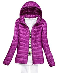 Fulok Womens Winter Packable Lightweight Puffer Short Down Jackets Purple2 Large * Read more reviews of the product by visiting the link on the image. (This is an affiliate link)