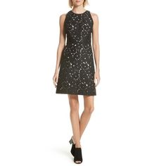 Women's Kate Spade New York Floral Cutwork A-Line Dress (5 930 ZAR) ❤ liked on Polyvore featuring dresses, black, floral lace dress, floral print a line dress, flower printed dress, floral cutout dress and lace a line dress