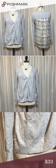 {Sparrow} Anthropologie high low cardigan Size medium. Sparrow by Anthro. Gray knit front with printed back. Front pockets. Cotton, nylon front with polyester spandex. EUC (2.22.0)  💟Fast 1-2 day shipping 💟Reasonable offers accepted 💟Purchase 3 or more items & get a special bundle rate!  💟Smoke-free home Anthropologie Sweaters Cardigans