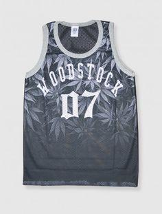 Camiseta deportiva rejilla estilo basket con estampado Marihuana Woodstock  07… Camisetas Gráficas d45d3bb8207