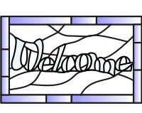 Welcome 4 stained glass pattern with the words welcome []$2.50 | PDQ Patterns