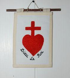 """Insigne """"Le coeur et la croix"""", contre-révolution royaliste en Vendée."""