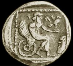 "Yahweh's Image on a 4th Century BC Persian Coin  ""A coin from Gaza in Southern Philista, fourth century BC, the period of the Jewish subjection to the last of the Persian kings, has the only known representation of this Hebrew deity. The letters YHW are incised just above the hawk(?) which the god holds in his outstretched left hand . He wears a himation, leaving the upper part of the body bare, and sits upon a winged wheel. The right arm is wrapped in his garment."""