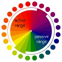 """The color wheel can be divided into ranges that are visually active or passive. Active colors will appear to advance when placed against passive hues. Passive colors appear to recede when positioned against active hues."""