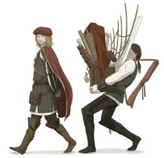 This would definitely happen. Leo's too charming for his own good. Ezio and Leonardo da Vinci by *doubleleaf.