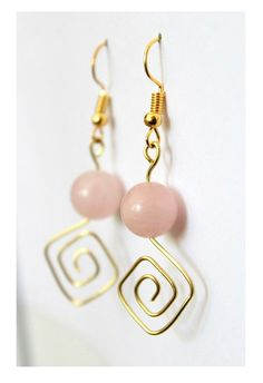 Handmade earrings made of rose quartz beads and gold wire - Jewelry / Schmuck - Diy Jewelry To Sell, Jewelry Crafts, Jewelry Making, Beaded Earrings, Earrings Handmade, Beaded Jewelry, Hoop Earrings, Stud Earring, Wire Jewelry Earrings
