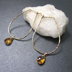 Aphrodite 36 Hammered drop hoops with by CalicoJunoJewelry on Etsy, $48.00