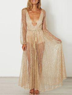 4f643c6f2fe4 Sexy Sheer Plunge Sequins Romper Maxi Dress Μάξι Φορέματα