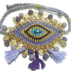 macrame evil eye bracelet Evil Eye Bracelet, Macrame Bracelets, Bracelet Making, Friendship Bracelets, Dream Catcher, Captain Hat, Crochet Jewellery, Money Makers, Accessories