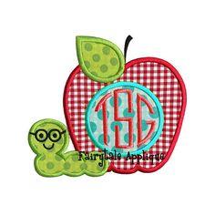 Digital Machine Embroidery Design Back to School Apple