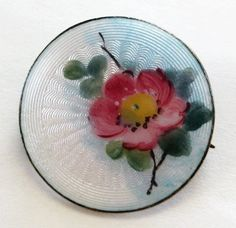 Vintage Sterling Enamel Norway Guilloche Primrose Brooch Pin from quick-red-fox on Ruby Lane