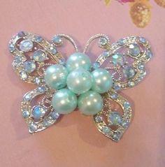 Vintage blue butterfly rhinestone pearl brooch pin jewelry by jansjewelry for $25.00