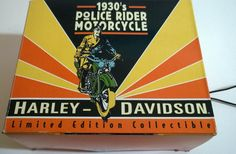 Police Rider on a Harley-Davidson Motorcycle. Cast-iron reproduction of a vintage 1930's item. One of a limited edition of 15,000. Buy it on AMAZON for £39.99 (new, in box) http://www.amazon.co.uk/1930s-Police-Rider-Motorcycle-Harley-Davidson/dp/B00QSDNYW4/ref=sr_1_29?ie=UTF8&qid=1421175362&sr=8-29&keywords=zapwow