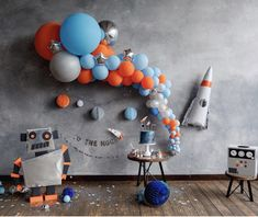 The most adorable rocket ship party I have seen. Loving how the balloons look l… The most adorable rocket ship party I have seen. Loving how the balloons look like they are just floating in mid air. Rocket Ship Party, Party Banner, Birthday Balloon Decorations, Birthday Balloons, Decoration Party, Space Theme Decorations, Outer Space Party, Moon Party, Party Party