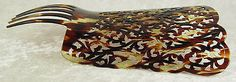 Vintage Faux Tortoiseshell Hair Comb Spanish Mantilla Large Carved 8-3/4x7-1/4in
