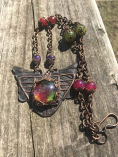 Eye of the Beholder-An Art Deco Inspired Necklace of Hand Oxidized Brass, Fused Glass, Filigree, Jade and Dragon's Vein Agate by Suzafone on Etsy