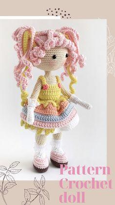 Crochet Doll Pattern, Crochet Patterns Amigurumi, Amigurumi Doll, Crochet Dolls, Amigurumi Tutorial, Crocheted Toys, Knitted Dolls, Crochet Baby, Knitting Patterns