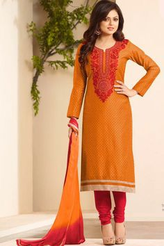 Orange & Red Chanderi Unstitch Casual Suit