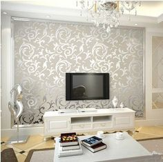 European classic style non-woven cream/gold leaf wallpaper roll for bedroom living room TV/sofa backdrop