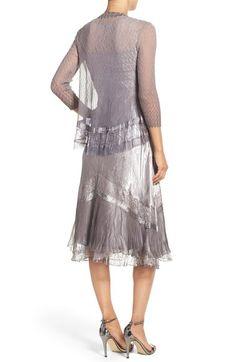Komarov Ombré Charmeuse A-Line Dress & Chiffon Jacket (Regular & Petite) | Nordstrom