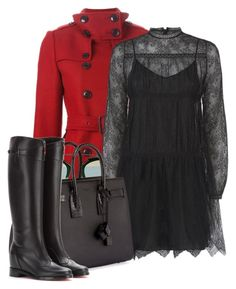 """""""red coat"""" by jacisummer ❤ liked on Polyvore featuring Burberry, Christian Dior, Valentino, Yves Saint Laurent and Christian Louboutin"""