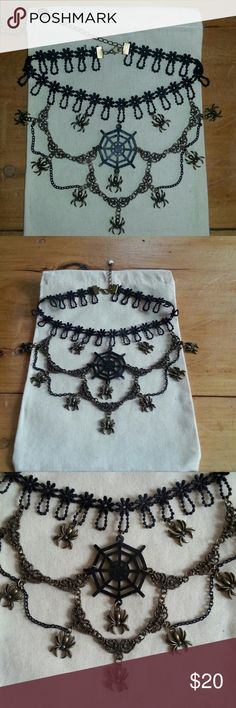 Lace Spider Web Choker Necklace A multi-tiered, lace choker style, all black & bronze color. Web is double sided & there's an extender chain with charm on back. NWT & comes in nice drawstring pouch. Same day ship to get for Halloween!  ;-) Macy's Jewelry Necklaces