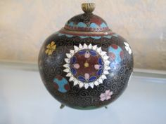Rare form Japanese Meiji period Black Cloisonne footed jar by DandAAmbientAntiques on Etsy
