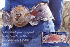 ♥ Cowgirls ♥ ❦ reridestories: Belts handmade by the girls at Re-Ride Stories… Cowgirl Belts, Cowgirl Bling, Cowgirl Chic, Western Belts, Cowgirl Style, Western Outfits, Western Wear, Cowboy Boots, Western Style
