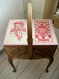 Embroideries on my antique French sewingbox. I love this so much, I want one so badly! Cross Stitch Samplers, Cross Stitching, Cross Stitch Embroidery, Stitch Box, Sewing Case, Coin Couture, Vintage Sewing Notions, Knit Art, Cross Stitch Finishing