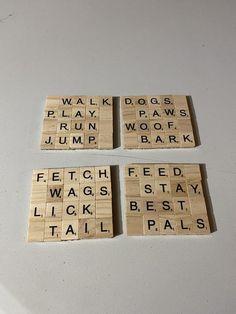 Scrabble Letter Crafts, Scrabble Coasters, Scrabble Wall Art, Cat Coasters, Marble Coasters, Scrabble Tiles, Coaster Crafts, Tile Art, Coaster Set