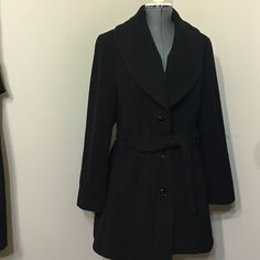 """Not for sale Pre owned black ,good condition lovely coat .60% Wool. 40%Polyester  Length 35"""" . Fits exactly to size 16 ( or 14W) Calvin Klein Jackets & Coats Pea Coats"""
