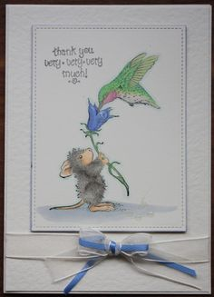 A card featuring House-Mouse made from a Stampendous Hummingbird Feeder stamped image coloured with Copic Markers.