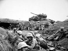 Marines from the 24th Marine Regiment during the Battle of Iwo Jima, 1945.