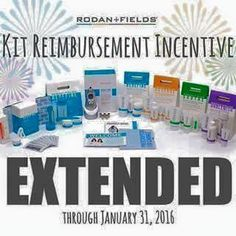 Join my team and get ready to have the best skin of your life! Rodan + Fields is the most credible company to have ever hit the clinical skincare market. Not to mention the perks of representing products that truly sell themselves which is why we have climbed into the #4 spot behind Lauder, Clinique and Lancome in just 7 short years (they have been around for decades)  PLUS you'll want to take advantage of the kit reimbursement incentive that is good thru Jan. 2016.