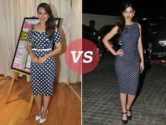 Polka dots are so fun, aren't they? We recently spotted B-town girlies, Sonakshi Sinha and Ileana D'Cruz in a frolicky mood, sporting polta dot pencil dresses. While both of them looked fab, here's how they made a statement at their respective events.