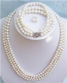 XaXe.com - 20'' 3row White Pearl Necklace Bracelet Earring Set