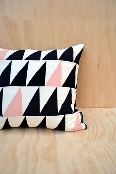 Geometric cushion cover triangles // black white pale by sisauvage, $37.00