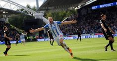 Laurent Depoitre celebrates as Huddersfield Town take the lead against Leicester City in a draw at the John Smith Stadium Huddersfield Town, Thing 1, John Smith, Leicester, Terriers, Football, Running, Scores, City