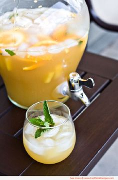 pineapple sangria | 3 cups pineapple juice  1 bottle dry white wine, such as Chardonnay or Sauvignon Blanc  1 cup brandy (pear brandy or apricot brandy will work)  1 ripe pineapple, cut into 1-inch chunks  1 cup pineapple soda  1 bunch fresh mint, roughly chopped  1 orange, sliced    Directions:    In a pitcher, combine the juice, wine, brandy, pineapple, and soda with ice and stir. Pour into large wineglasses and garnish with the mint and orange.