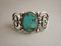 Cuff | Bracelet by Wilson Begay (Navajo).  Sterling silver and Blue Gem Turquoise.