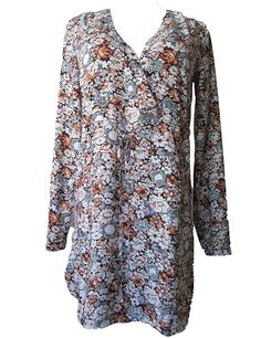 HiCollection Casual V Neck Floral Print Plus Size Dress Long Sleeve * Startling review available here  : Evening dresses