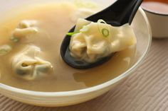 Spicy Miso Soup with Bok Choy Wontons by chow #Soup #MIso #Wonton