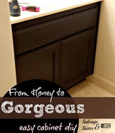 DIY Bathroom Cabinet Makeover - Goodbye Honey cabinets - Salvage Sister and Mister Stained Kitchen Cabinets, Diy Cabinets, Bathroom Cabinets, Staining Cabinets, Cabinet Stain, Cabinet Refinishing, Large Bathrooms, Small Bathroom, Bathroom Ideas