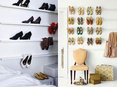 ikea ribba racks shelves hacks organize shoes store wall - schoenen opbergen presenteren muur plankjes