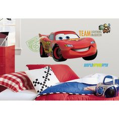 Cars 2 Giant Lightning McQueen Wall Sticker, Transport Wall Stickers, Boys Wall Decals