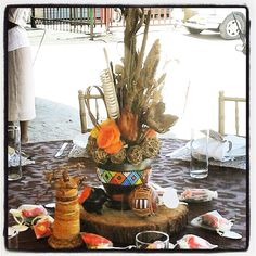 Traditional African wedding centerpieces and decor. www.facebook.com/joburgtents or SecundaTents&Events Diy Wedding Decorations, Reception Decorations, Event Decor, Wedding Centerpieces, Table Decorations, Traditional Wedding Decor, African Traditional Wedding, Blaze Birthday Cake, African Princess