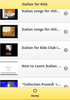 Italian for Kids Video Apps Free!<br>---------------------------------------------------<br>The collection of most popular Italian for Kids Learning Language Video Clips for kids, baby, toddler, children to fun and educational learning by songs.<p>It is available FREE of cost, and needs INTERNET connection is required to work. All of contents are Youtube and this app provides the Link list for user's easy use.<p><br>Sample : Italian for Kids<br>- Learning Italian for children - Italian…