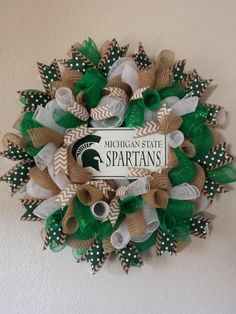 MIchigan State Spartans football wreath by AnyOccasionWillDo